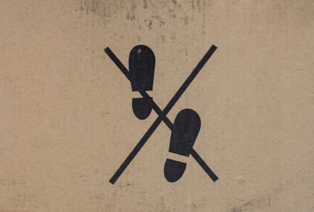 can not: Warning sign on the cardboard packaging
