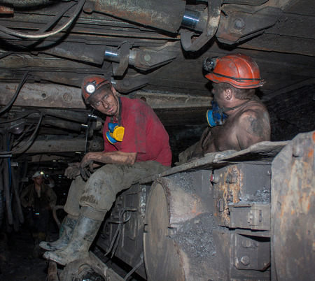 shearer: Novogrodovka, Ukraine - January, 18, 2013: The miners in the mine at a depth of 800 meters below ground