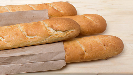 several: Several baguettes on the table