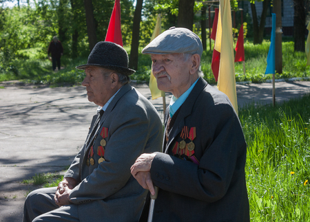 makeevka: Makeevka, Ukraine - May, 7, 2014: Veterans of World War II during the celebration of the anniversary of the victory over fascism