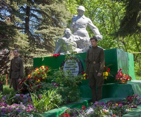 makeevka: Makeevka, Ukraine - May, 7, 2014: Quard of honor guard at the monument to warriors who died during the Second World War Editorial