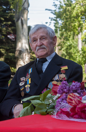 Makeevka, Ukraine - May, 7, 2014: Veteran of World War II during the celebration of the anniversary of the victory over fascism