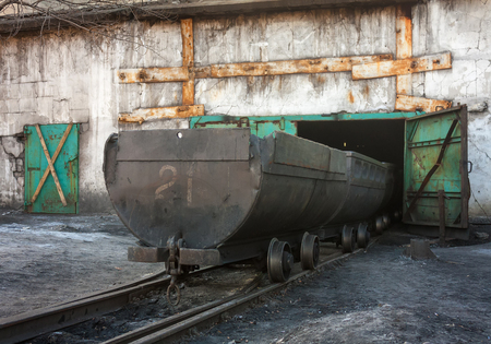 anthracite coal: Empty trolley on mine yard. Ukraine, Uglegorsk