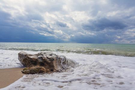 tempest: Wave and stone. Crimean Black sea coast