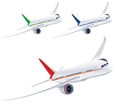 boeing: Airplane isolated on white background. Vector illustration