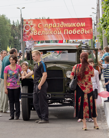 Makeevka, Ukraine - May, 9, 2012: Residents of the city in celebration of the anniversary of the victory over fascism Editorial