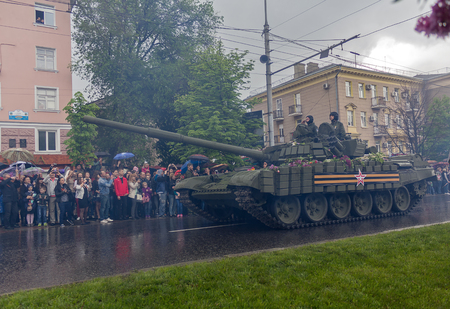 separatist: Donetsk Ukraine May September 2015: Tank forces Donetskoy People39s Republic at the military parade in honor of the anniversary of the victory over fascism in World War II