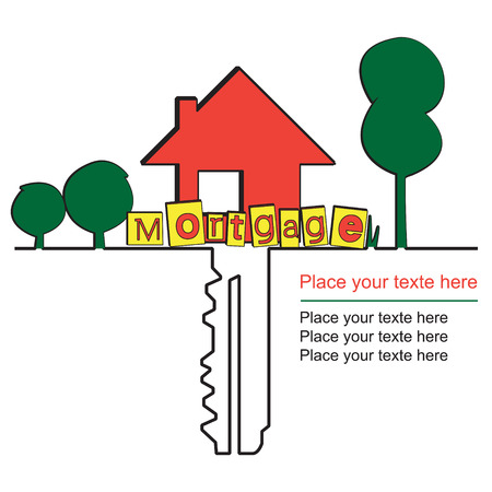 residential tree service: House key and mortgages. Vector design