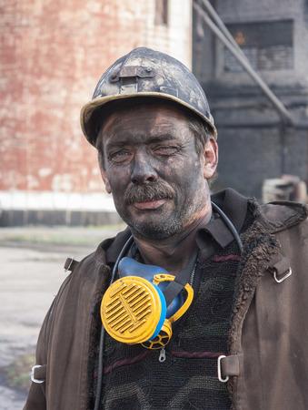 anthracite coal: Makeevka, Ukraine - October 30, 2012: Miner mine Yasinovskaya-Glubokaya after work shift