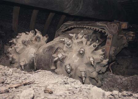 shearer: Ð¡oal machine in underground tunnel