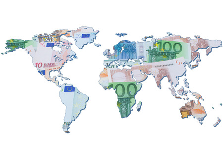 imperialism: The world map made with euro bills. Isolated on white background