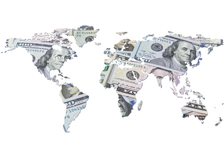 imperialism: The world map made with dollar bills. Isolated on white background