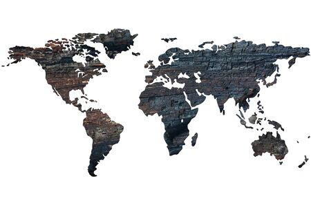 burnt wood: World map on the background of burnt wood. Isolated on white background