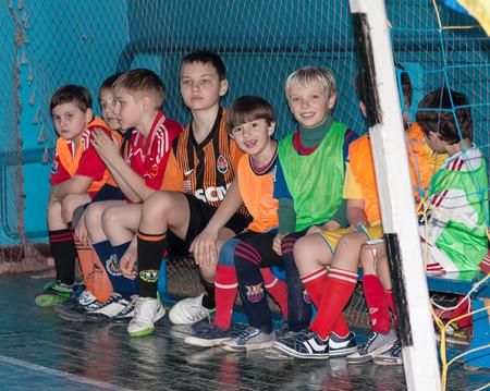 pep: Selidovo, Ukraine - March 21, 2013: Young players on mini-football tournament among amateur teams coal enterprise Editorial