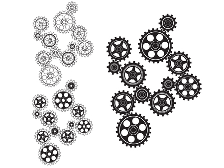 toothed: Toothed gears in a single mechanism. Vector illustration