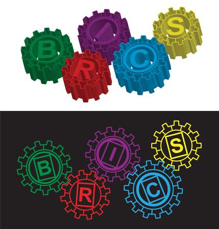 brics: BRICS stylized symbol of gears. Vector illustration