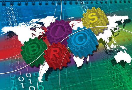 brics: BRICS stylized symbol of gears. world economy