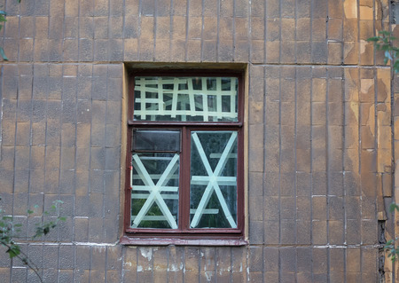 shelling: Window crosses in the area to be shelling. Ukraine Stock Photo