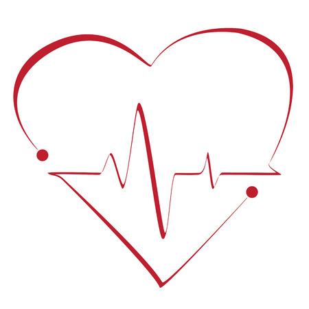 signos vitales: Cardiograma del corazón con el corazón en ello. Vector estilizada símbolo