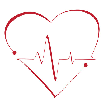 vital: Heart cardiogram with heart on it. Vector stylized symbol