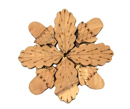 trivet: Wooden stand under the hot pan or teapot Stock Photo