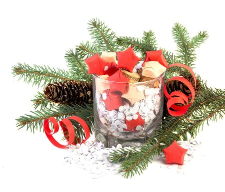 new years day: Stars in glass and pine tree, Christmas and New Years Day decoration