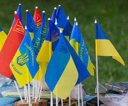 nationalists: Pennants of the Ukrainian state and the organization of Ukrainian Nationalists Stock Photo
