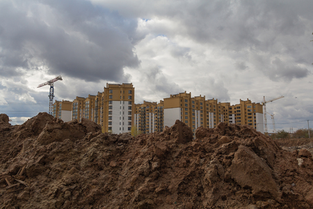 housing development: Excavation work during the construction of new housing Stock Photo