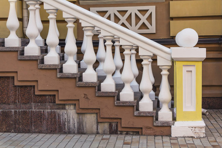 concrete stairs: Railing stairs in an old vintage style. Architecture Stock Photo