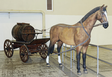 Model horses and vintage fire wagon