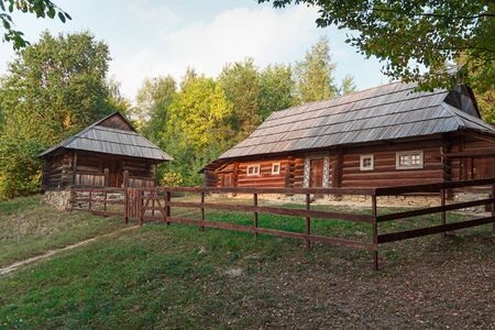 pirogovo: Old house of the peasants and the fence at the Museum of Pirogovo. Ukraine