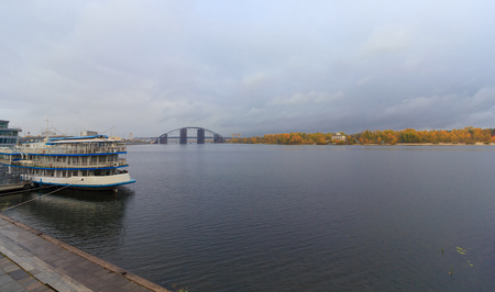 dniper: Passenger ship at the pier and a panoramic view of the Dnieper. Kiev, Ukraine