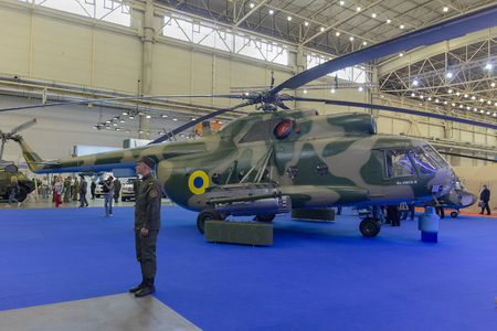 Kiev, Ukraine - September 08, 2015: Upgraded Mi-8 helicopter at the specialized exhibition Arms and Security - 2015