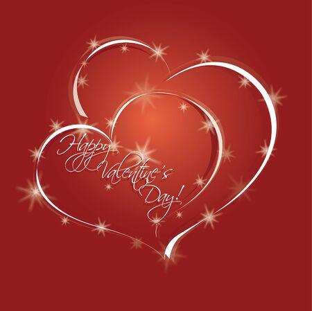 Zwei Herzen und Sterne. Vektor-Illustration