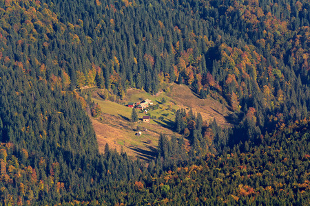 road autumnal: House in the meadow on a wooded hillside. Carpathians