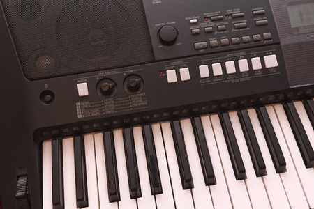 electronic music: Keys electronic musical instrument close-up. Music