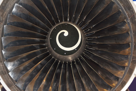 blades: Turbine blades of aircraft jet engine. Aviation