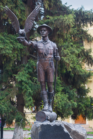 scouts: Ivano-Frankivsk, Ukraine - October 17, 2015: Monument to the young scouts that have not betrayed their oaths