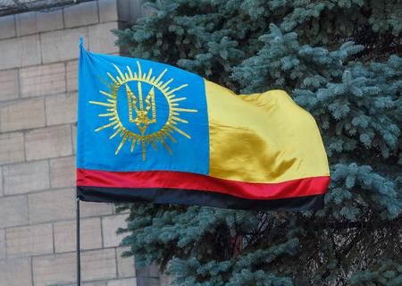 patriots: Kiev, Ukraine - September 20, 2015: Flag Ukrainian patriots at Independence Square