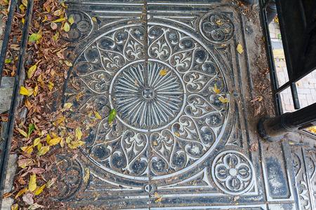 medieval blacksmith: Vintage metal staircase, top view. Architecture