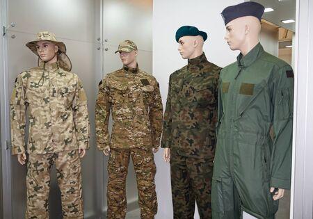 garrison: Men mannequins in uniform. Army and gear