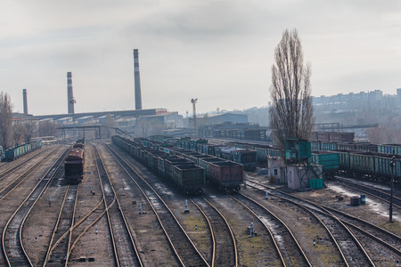 steel works: Railway carriages and steel works. Donetsk, Ukraine Stock Photo