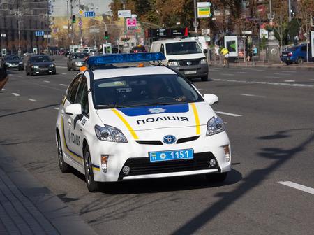 patrol car: Kiev, Ukraine - September 19, 2015: Ukrainian police patrol car on the street Khreshchatyk
