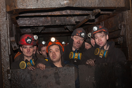 Gorlovka; Ukraine - February 26; 2014: The miners of the mine named after Kalinin fall into the workplace in underground mines Redactioneel