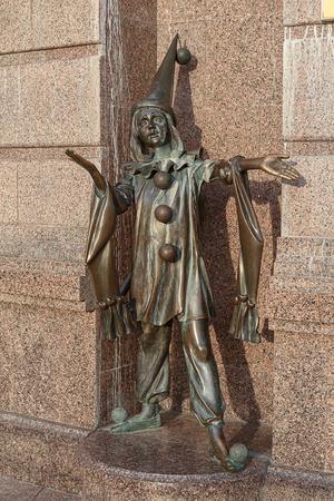 collodi: Bronze statue of character from fairy tale Pierrot near the Academic Puppet Theater. Kiev, Ukraine
