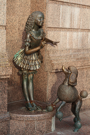 collodi: Bronze statue of characters from fairy tale Malvina and Artemon near the Academic Puppet Theater. Kiev. Ukraine