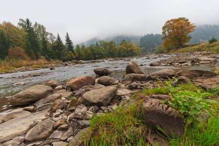 River, rocks and mountains in fog. Carpathians