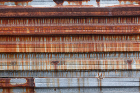 metal textures: Rusty corrugated metal sheet. Backgrounds and textures