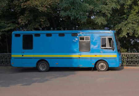 rada: Kiev, Ukraine - September 03, 2015: Special police bus parked near the Verkhovna Rada of Ukraine