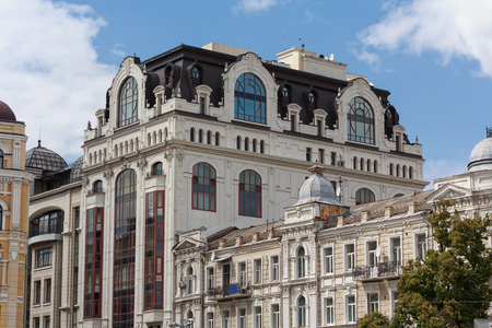 Facade of a beautiful building in a classic style. Kiev, Ukraine